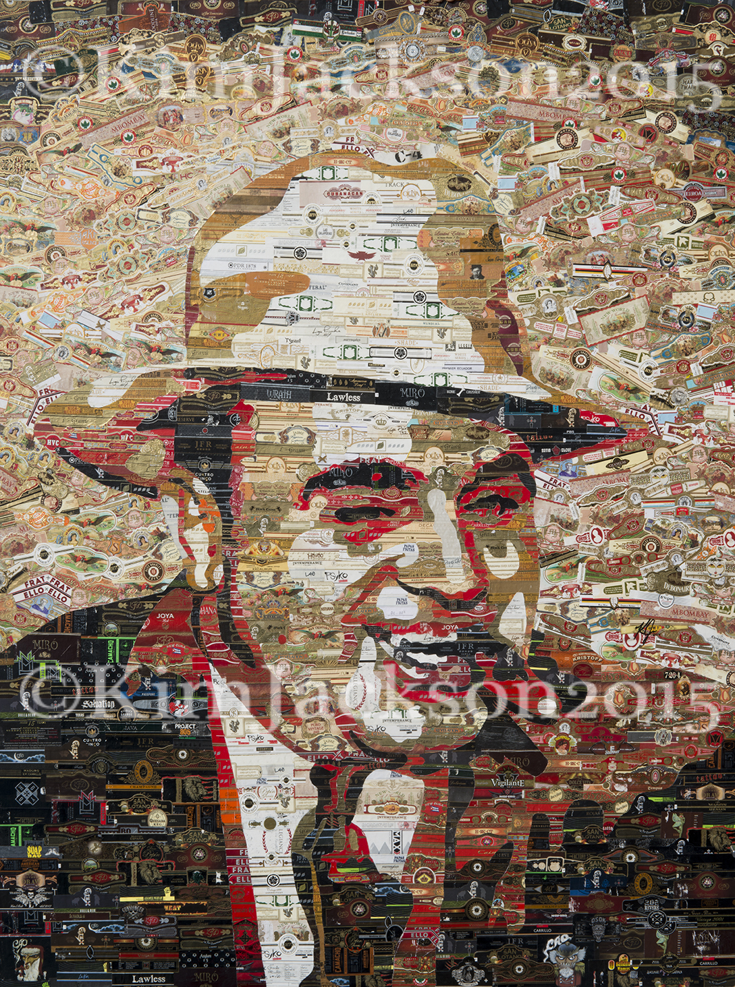 Copy image of original artwork: Cigar band Al Capone by artist Kim Jackson.